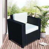 1 Seater Rattan Sofa - Black