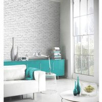 'Brick Wall Wallpaper - White