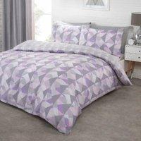 Soho Geometric Duvet Cover and Pillowcase Set - Mauve / King