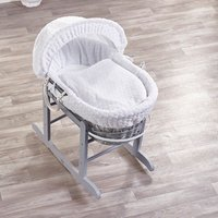 White Honeycomb Grey Wicker Moses Basket with Grey Little Gem Rocking Stand - White