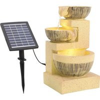 Solar LED Light Lamps Rustic Floor Water Fountain - Yellow