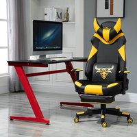 Gaming Chair with Pillow and Footrest - Black, Yellow