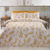 Willow Duvet Cover and Pillowcase Set - Ochre / Super King