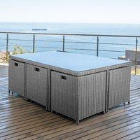 Nova 6 Seater Rectangular Rattan Cube Dining Set - White Wash