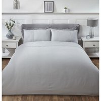 Luxury Waffle Duvet Cover and Pillowcase Set - Silver / King