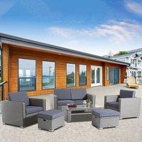 Garden Rattan Sofa and Table Set - Grey