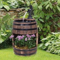 Wooden Barrel Patio Water Fountain - Carbonised Wood Colour