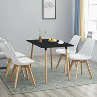 Rectangle Black Wood Dining Table with 4 White Chairs Set