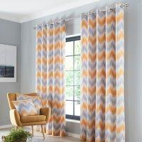 Arizona Ochre Eyelet Curtains - Yellow / 117cm / 137cm