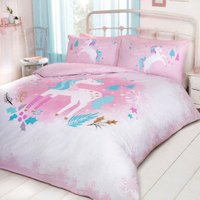Magical Christmas Unicorn Duvet Cover and Pillowcase Set - Double