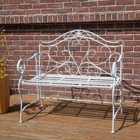 BIRCHTREE 2 Seater Metal Garden Bench  - White