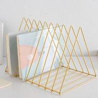 Triangle Metal Wire Magazine Sorter Organizer Rack - Yellow