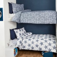 Pack of Two Stars Duvet Cover and Pillowcase Sets - Blue / Single