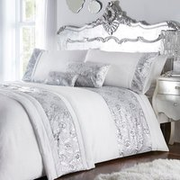 Krista Duvet Cover and Pillowcase Set - Silver / Super King