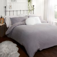 Flannelette Duvet Cover and Pillowcase Set - Grey / King