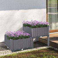 Rattan Effect Raised Flower Planter Bed - Brown / Set 2