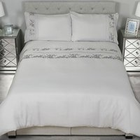 Trailing Sequin Flowers Duvet Cover and Pillowcase Set - Super King