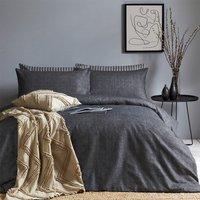 Brushed Cotton Herringbone Duvet Cover Set - Charcoal / King