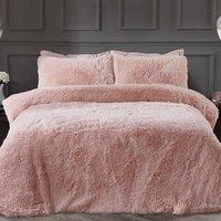 Shaggy Faux Fur Duvet Cover and Pillowcase Set - Blush / Single