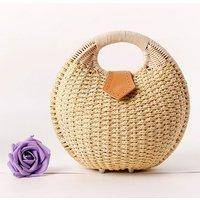 Handwoven Shell Rattan Handbag - Beige