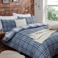 Mckinley Flannelette Check Denim Duvet Cover and Pillowcase Set - Double