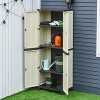 Plastic Utility Cabinet Garden Tool Shed - Beige / 172cm