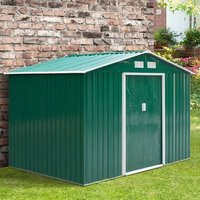 9 x 6FT Outdoor Garden Roofed Metal Storage Shed  - Green