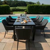 Maze Rattan Zest Eight Seater Rectangular Dine Set With Fire Pit - Charcoal