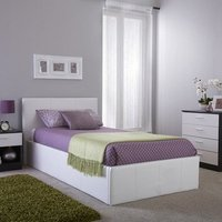White Leather Side Lift Storage Bed - White / Single