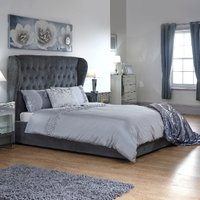 Dakota Storage Ottoman Bed Frame - Pewter / Double