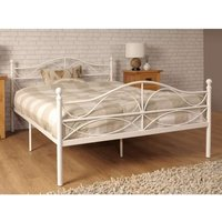 White Scroll Effect Metal Bed Frame  - Double