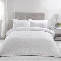 Kali Tufted Cut Out Duvet Cover and Pillowcase Set - White / Double