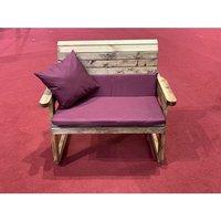 Charles Taylor Bench Rocker with Cushions (no Back Cushions) - Redwood/Burgundy