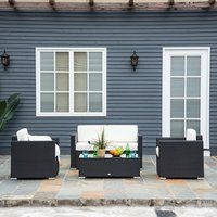 Rattan Sofa Set - Black