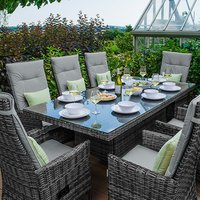 Ruxley 8 Seater Rattan Rectangular Dining Set-Brown - Grey