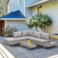 Rattan Garden Furniture Wicker Conservatory Corner Sofa Set - Grey