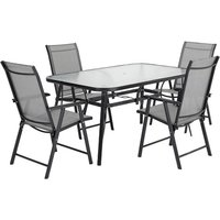 Outdoor Coffee Table and Chairs Bistro Set - Black / 120cm