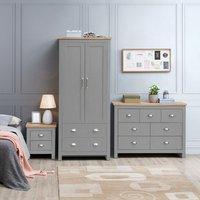 Lisbon Grey 3 Piece Bedroom Set - Grey