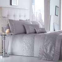 Shimmer Silver Duvet Cover and Pillowcase Set - Silver / King