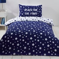 Reach for the Stars Duvet Cover and Pillowcase Set - Blue / Double