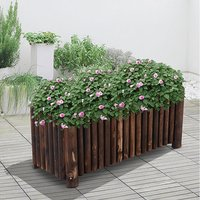 Raised Flower Bed Pot Container - Natural Wood Colour / 120cm / 40cm