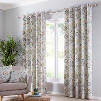 Charleston Teal Eyelet Curtains - Blue / 117cm / 137cm