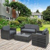 Rattan Sofa Set - Grey