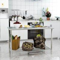 Kitchen Wire Base Work Table - Silver / 120cm