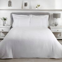 Luxury Waffle Duvet Cover and Pillowcase Set - White / Super King