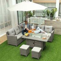 5 Piece Outdoor PE Rattan L Shape Sofa - Grey Rattan