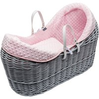 Pink Dimple Grey Pod Moses Basket
