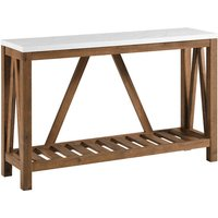 Ohara Rustic Entryway Table - White Marble and Walnut