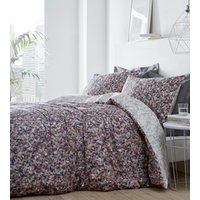 Muse Duvet Cover and Pillowcase Set - Burgundy/Charcoal / Super King