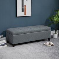 Linen Storage Ottoman Bench with Tufting Hinged - Grey
